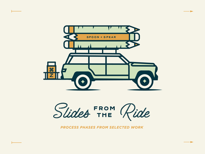 Slides from the Ride 2 process wagon pencil travel enamel pin jeep custom type type lockup lettering typography print script illustration