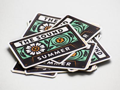 The Sound of Summer Sticker typography vintage retro mixtape nature flat vector flowers music summer sticker print cassette tape illustration