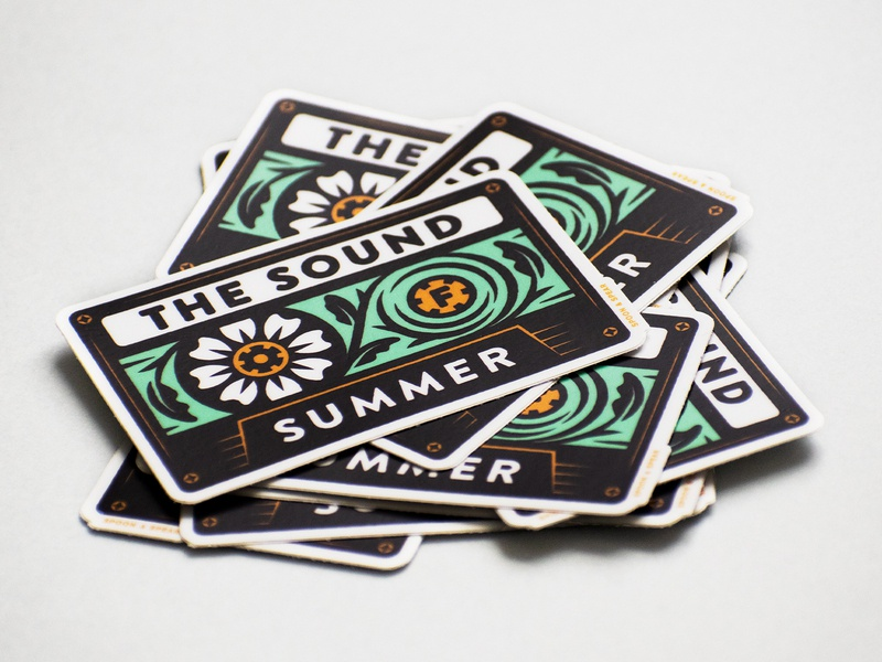 The Sound of Summer Sticker typography vintage retro mixtape nature flat vector flowers music summer sticker print cassette tape illustration