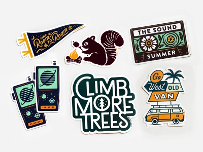 New Stickers! van cassette tape vintage walkie talkie nature pennant outdoors summer stickers print typography illustration