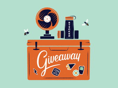 Giveaway Illustration giveaway fan outdoors stickers nature flat vector lettering cooler summer water bottle print typography illustration
