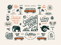 One Year Collection layout flash sheet typography logo nature flat vector surfer van beach outdoors pattern print branding
