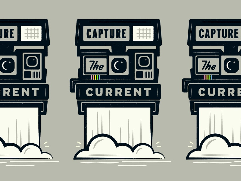 Capture the Current current water series outdoors nature flat vector camera vintage retro waterfall print polaroid