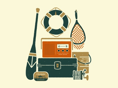 Lake Day Illustration texture tackle box typography outdoors net flat vector reel vintage radio fishing print lake