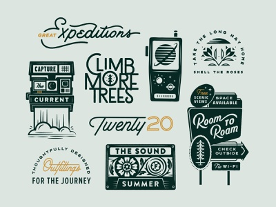 2020 Roundup retro collection typography script outdoors travel 2020 nature vintage lettering illustration print type