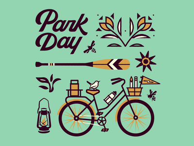 Park Day Collection collection print typography type flat vector bee plants outside outdoors bike flowers lettering park nature illustration