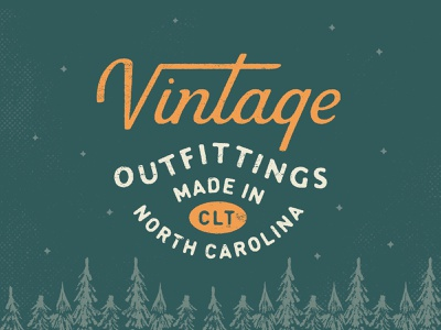 Vintage lockup script lockup north carolina charlotte woods scenic illustration type vintage lettering typogaphy
