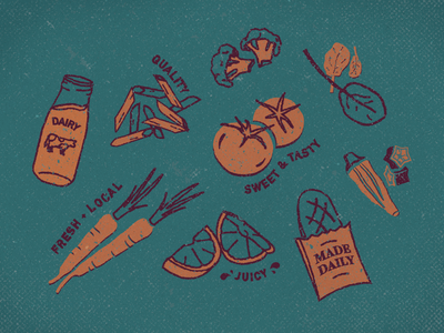 Local Provisions local goods milk fruit tomatoes carrots farmers market tote vintage vegetables groceries market illustration food
