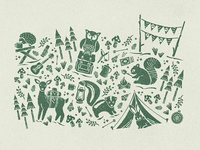 Campsite Cronies vintage scene illustration pattern nature tent skunk owl linocut party woodland animals camping