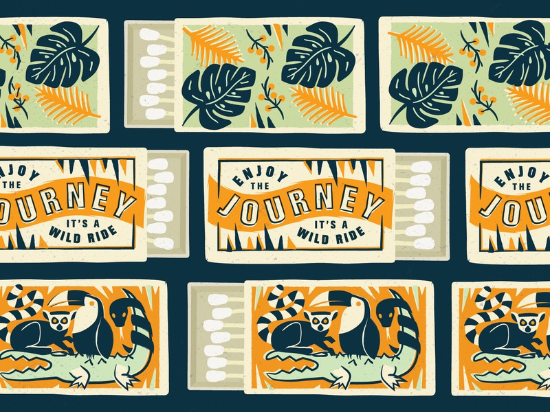 Wild Ride Matchbox Covers vintage snake bird lemur pattern typography print illustration wild plants jungle safety matches matchbox