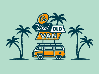 Go West Old Van Pin go west enamel pin retro type travel vintage inspired handlettering print west coast palm trees van illustration typography