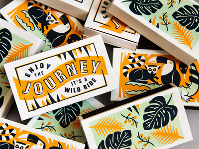 Wild Ride Matchboxes tropical journey toucan monstera leaves typography matchbox matches lemur jungle type packaging print
