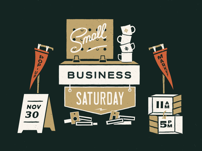 Small Business Saturday Graphic shop small charlotte nc pop up market holiday event illustration brand identity retail pennant typography print lettering