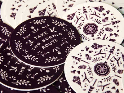 Scenic Route Coaster Set merchandise coaster slingshot compass radial pattern trees scenic route illustration type lockup badge typography print nature