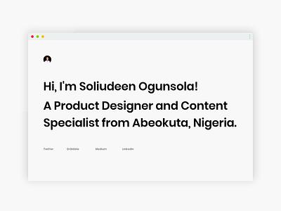 Minimal Portfolio Design nigeria africa design ui uiux figma ui design my profile personal site personal project portfolio page portfolio website portfolio design portfolio site portfolio