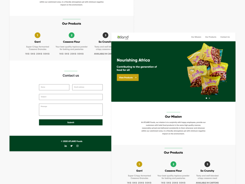 ATLAND Foods Landing Page design figmadesign ui uiux figma ui design food website landing page design landing page