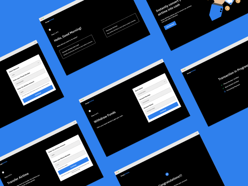 Swap Airtime ui design ideation proof of concept design process dashboard ui dashboad cash swap airtime swap airtime case study