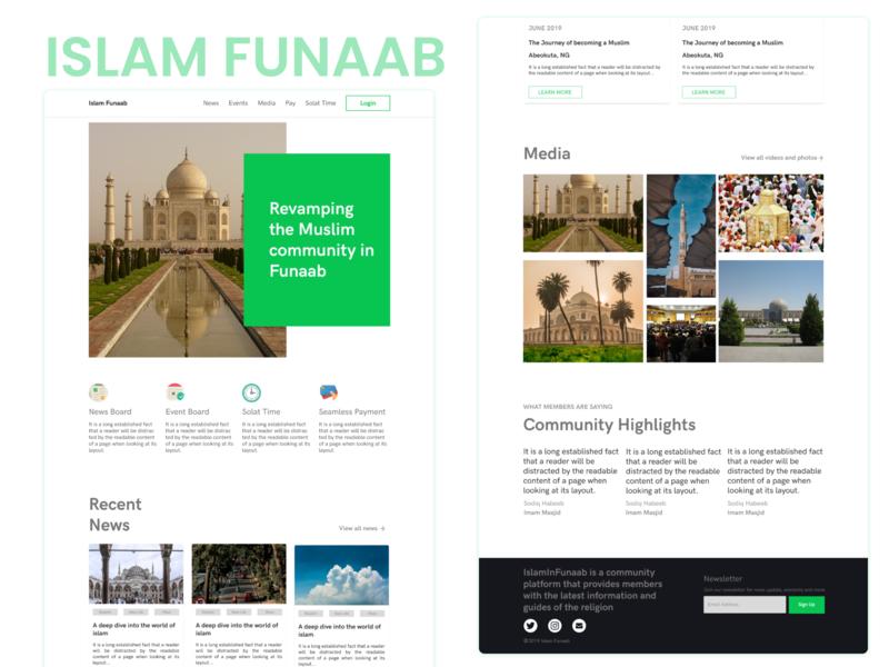 Islam In Funaab UI Design ui ui design uiux landing page muslim community website islam funaab