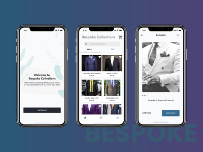 Bespoke Collections Mobile App design ui figmaafrica figma ui design mobile ui mobile app bespoke suit online store shopping cart