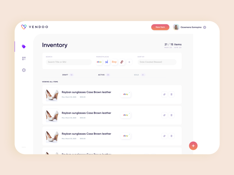 Inventory card dashboard minimal layout web app clean flat ux ui