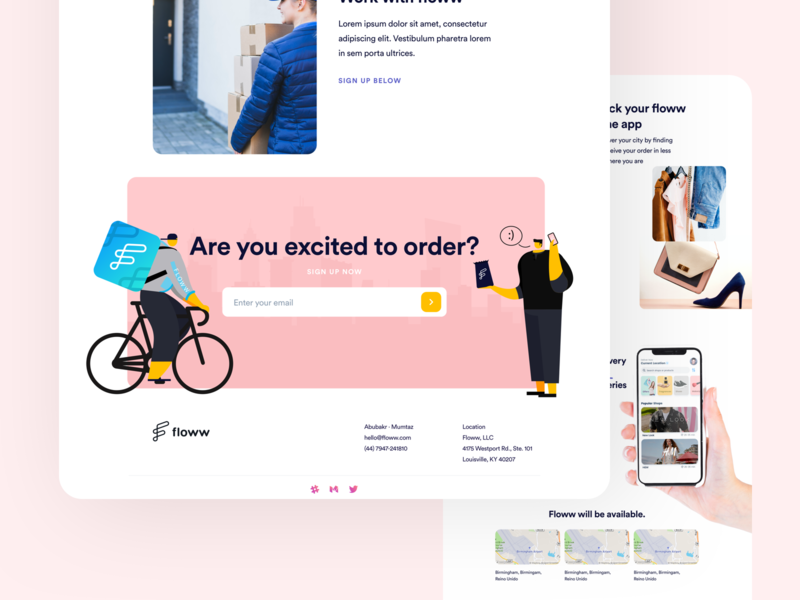 Footer delivery illustration art landing design cards minimal layout web clean flat ux ui footer