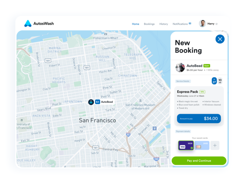 New Booking booking app carwash minimal card dashboard layout web app clean flat ux ui