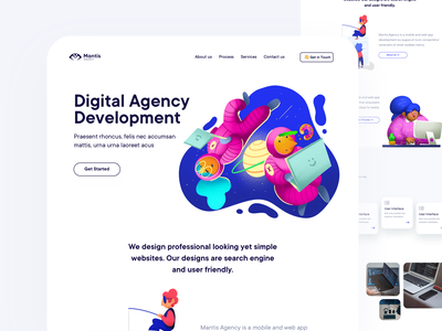 Landing development agency development illustration landing design minimal layout web clean flat ux ui