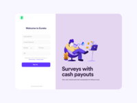 Signup surveys payout simple login signup illustration minimal web app clean flat ux ui