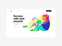Surveys splashpage sweepstakes surveys vector landing ui ux clean web design illustration