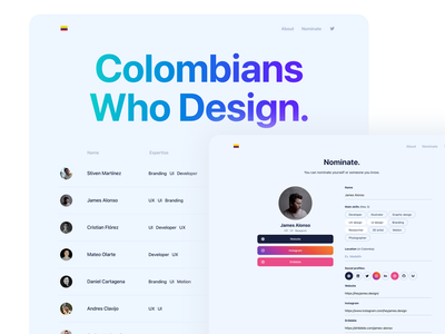 Colombians Who Design developers designers landing cards minimal layout web app clean flat ux ui