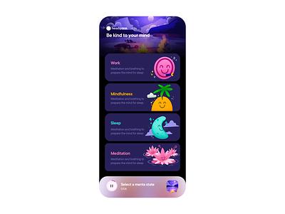 Meditation [!dea] concept design illustration art headspace dark cards ios layout app clean flat ux ui