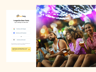 Log in signup page beer fests cards minimal layout web app clean flat ux ui event app login page
