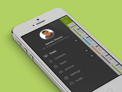 Menu ios7 iphone app flat ui clean profile task