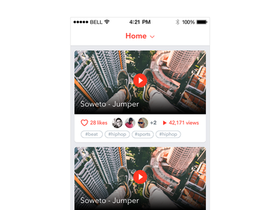 Feed streaming video avatar clean flat ui ux app ios cards