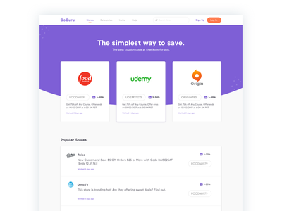 Store [Coupons] web layout clean flat stores codes store coupon google extension ui ux