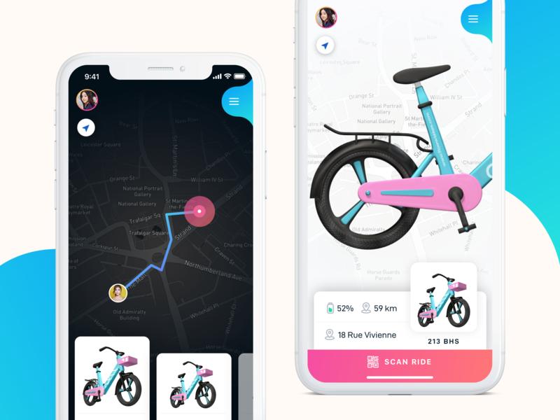 Floww App scooter card design cards ios layout app clean flat ux ui