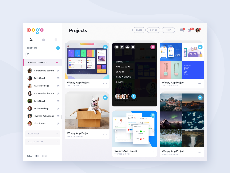 Pogo App moodboard ipad profile card dashboard design minimal cards ios layout web app clean flat ux ui