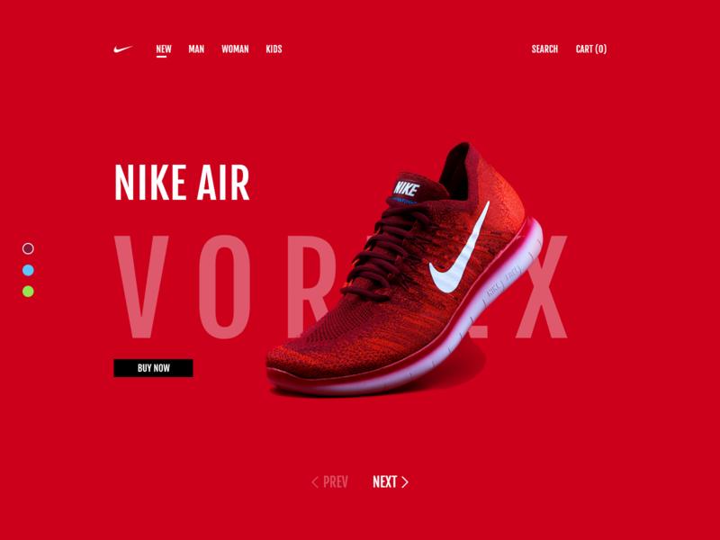 Nike Vortex Rebrand Concept flat website minimal app typography fashion design web ux ui
