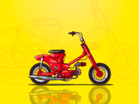 Red Custom Bike Illustration