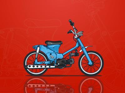 Blue Custom Bike Illustration