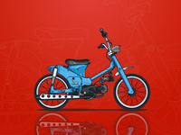 Blue Custom Bike Illustration