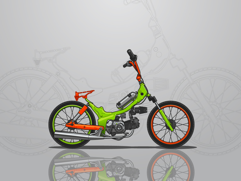 Green Custom Bike Illustration custom design graphic illustration vector sticker white gray orange green garage bike motorbike