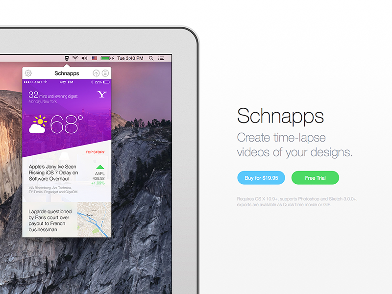Simple product site for Schnapps yosemite widget macosx menubar schnapps white time-lapse gif sketch