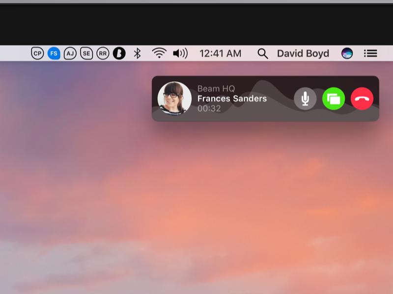Beam for macOS noui popover dark sierra osx sound wave voice menubar beam