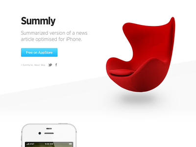 Summly Web white product website clean minimal summly egg chair