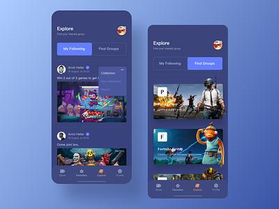 Online Gaming Entertainment 03 app design app videogame ux ui show online make friends gameshow hobby groups interest uidesign design game app