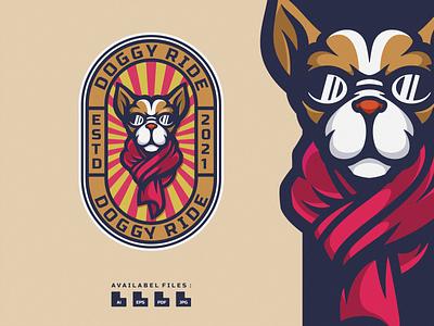 Doggy Ride Logo logodesign cartoon icon logo vector illustration design mascotlogo mascot rider motorbike motorcycle ride doggy dog