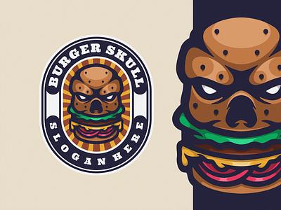 Burger Skull Logo Mascot logoicon logodesign cartoon icon logo design vector illustration skull food burger