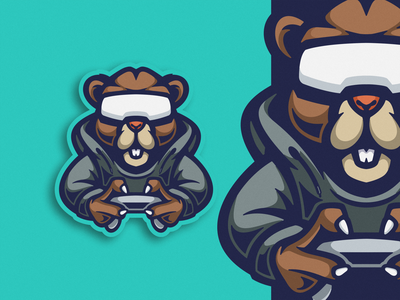 Beaver Game Logo Mascot cartoon design illustration vector playstation logoesport squad team emblem mascot icon logo game beaver