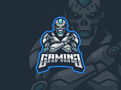 Robo Skull Logo Mascot game gaming vector illustration logogaming squad team logoesport esport logoicon logomascot logodesign design icon mascot logo skull robot